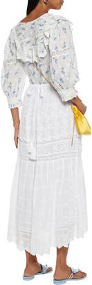 LoveShackFancy Zinnia Swiss-dot And Broderie Anglaise Cotton Midi Skirt