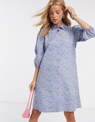 Pieces mini shirt dress with puff sleeves in blue ditsy floral