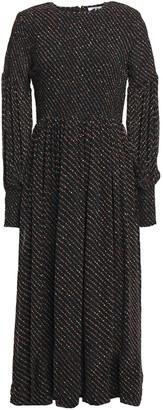 Ganni Shirred Polka-dot Georgette Midi Dress