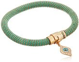 "lonna & lilly Stones"" Worn Gold-Tone and Teal Mesh Tube Evil Eye Charm Bracelet, 8"""
