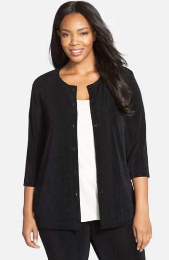 Vikki Vi Plus Size Women's Three-Quarter Sleeve Cardigan