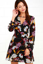 MinkPink Mink Pink Lost In Paradise Black Floral Print Dress