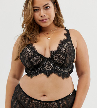 Figleaves Curve Adore lace bra with high apex in black