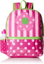 Pink Platinum Platinum Little Girls Dots and Stripes 16 Inch Backpack with Lunch Kit and Water Bottle