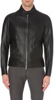 HUGO BOSS Stand-collar leather jacket