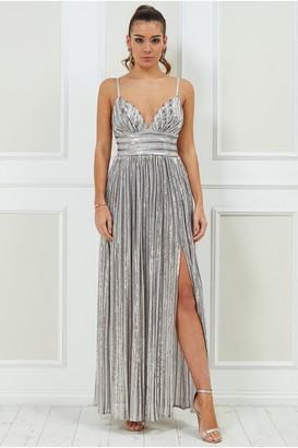 Goddiva Stripe Sequin Maxi Dress with Split - Silver