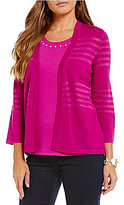 Allison Daley Petite 3/4 Sleeve Open Front Cardigan