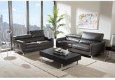 Baxton Studio Thanos Modern Gray Bonded Leather Living Room Sofa Set