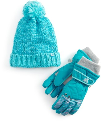 ZeroXposur Girls 4-16 Versatile Cuffing Beanie Hat & Gloves Set