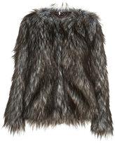 Collarless Faux Fur Coat
