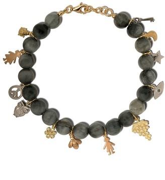 Carolina Bucci 18kt gold Lucky Charms dumortierite beaded bracelet