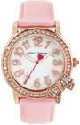 betsey johnson womens pink leather strap watch 38mm bj0056203