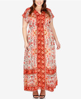 Lucky Brand Trendy Plus Size Short-Sleeve Printed Maxi Dress