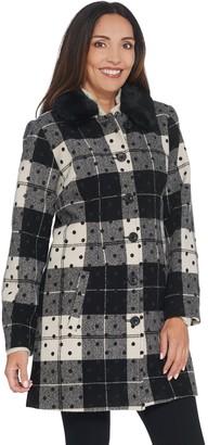 Isaac Mizrahi Live! Buffalo Plaid & Dot Coat with Faux Fur Collar