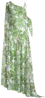 Chiara Boni Aja Illusion Palm-Print Maxi Dress