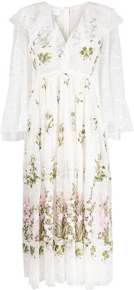 Giambattista Valli Floral-Embroidered Ruffled Dress