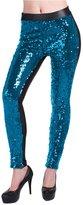 Lotsyle Women's Faux Leather Shiny Sequins Party Footless Leggings Pants -S