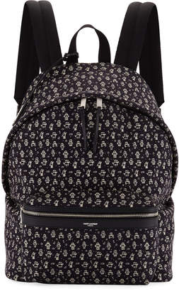 Saint Laurent Men's City Robot-Print Canvas Backpack