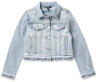 Calvin Klein Logo Denim Jacket (Big Girls)