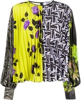 MSGM pleated multi-print blouse