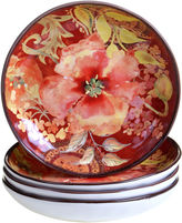 Certified International Watercolor Poppies 4-pc. Soup Bowl