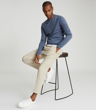 Reiss Wessex - Merino Wool Jumper in Denim Mouline
