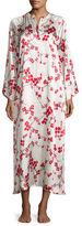 Natori Cherry Blossom Zip-Front Silk Caftan