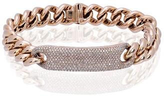 Shay 18kt rose gold ID diamond pave 6.5 inch link bracelet