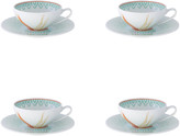 Vista Alegre Fiji Tea Cups & Saucers, Set of 4