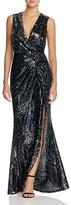 Aqua Sequined Wrap Gown
