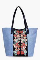 boohoo Hannah Denim Embroidered Beach Bag denim-blue