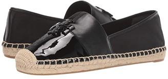 Tory Burch Logo Patchwork Flat Espadrille (Perfect Black Multi) Women's Shoes