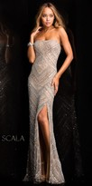 Scala High Slit Two Tone Evening Dress