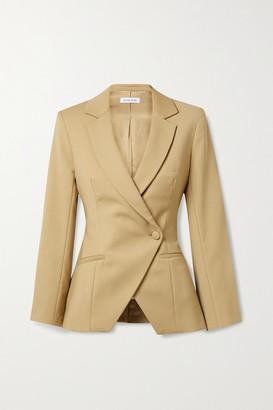 Anine Bing - Ade Asymmetric Double-breasted Wool-blend Blazer - Beige