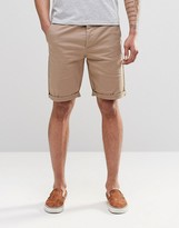 Asos Stretch Chino Shorts In Stone