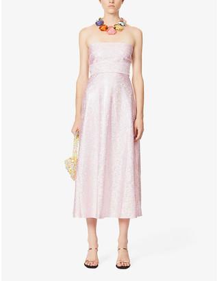 Saks Potts Jepska reflective-print strapless stretch-jersey midi dress