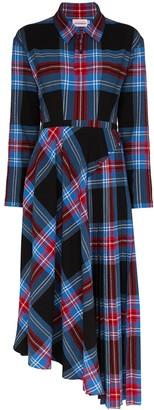 Charles Jeffrey Loverboy check asymmetrical shirt dress