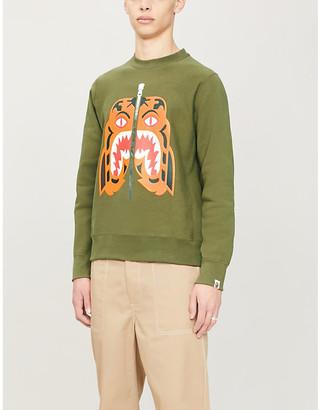 A Bathing Ape Mens Olivedrab Green Tiger Print Cotton-Jersey Sweatshirt, Size: M