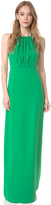 Halston Round Neck Gown with Flounce Back