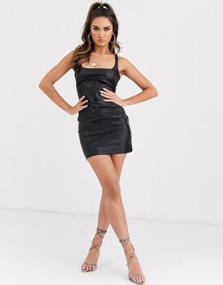 Bec & Bridge freddie faux leather mini dress-Black