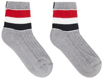 Thom Browne Online Exclusive Grey RWB Stripe Athletic Socks