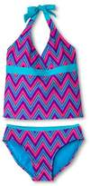 Xhilaration Girls' 2-Piece Zig Zag Dot Halter Tankini Set