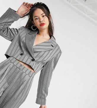 Collusion cropped pinstripe blazer