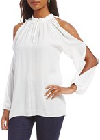Chelsea & Theodore Cold Shoulder Split Sleeve Blouse