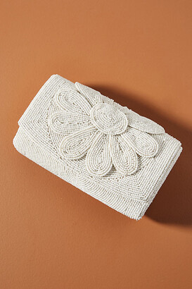 Anthropologie Farin Beaded Clutch By in White Size ALL
