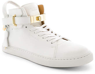 Buscemi 100MM High Top Pebbled Leather Sneakers in White | FWRD