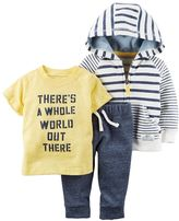 "Carter's Baby Boy There's a Whole World Out There"" Graphic Tee, Striped Hooded Sweatshirt & Pants Set"