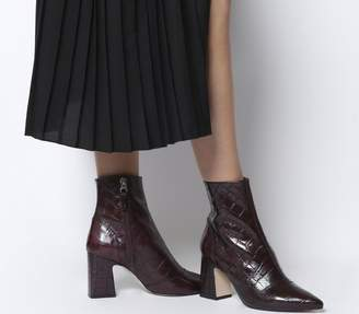 Office Alto Pointed Block Heels Burgundy Croc Leather