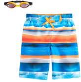 ZeroXposur Boys 4-7 Striped Watercolor Swim Trunks with Goggles