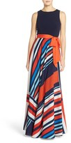 Eliza J Women's Jersey & Stripe Crepe De Chine Maxi Dress